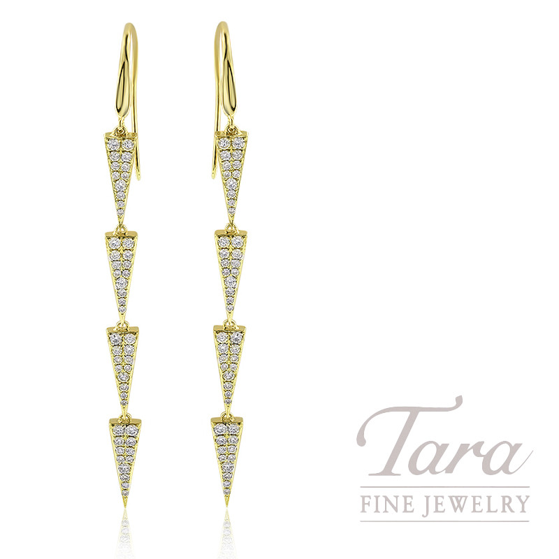 18K Yellow Gold Pave Diamond Triangle Dangle Earrings, 4.2G, .95TDW