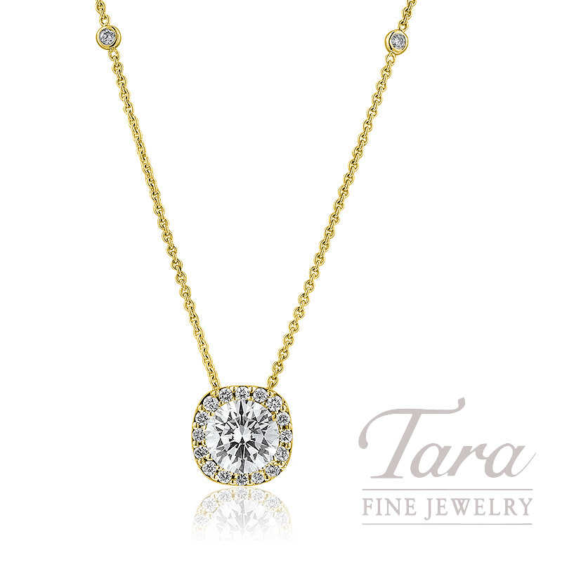 Forevermark Diamond Halo Pendant and Diamond Chain in 18K Yellow Gold  (Click For Available Sizes!)