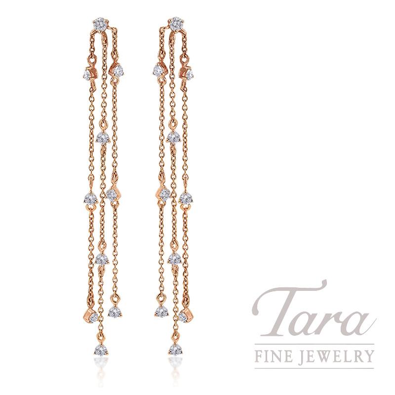 18K Rose Gold Diamond Dangle Earrings, 2.5G, .64TDW