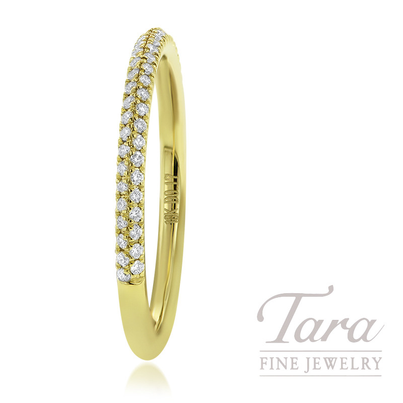 18K Yellow Gold Diamond Band 52 Round Diamonds 0.17TDW, 1.9G