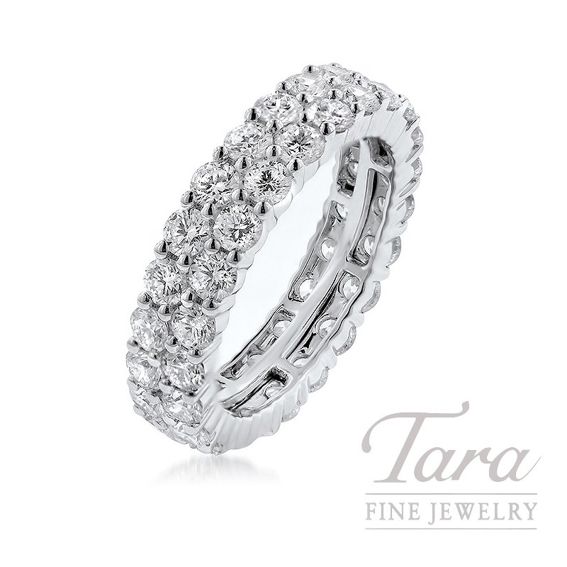18K White Gold 2 Row Diamond Band, 5.7G, 3.65TDW
