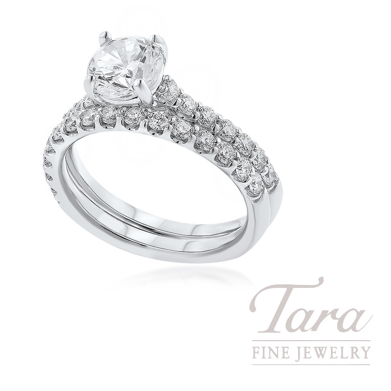 18k White Gold Diamond Wedding Set, .75TDW (Center Stone Sold Separately)