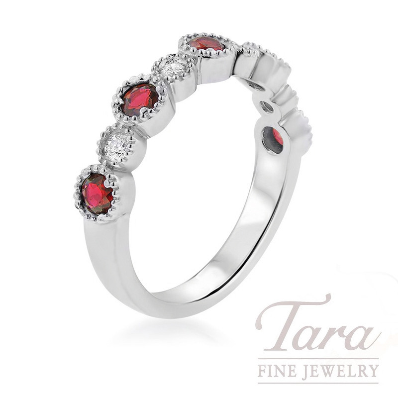 18K White Gold Ruby and Diamond Stackable Band, .55TGW Rubies, .15TDW