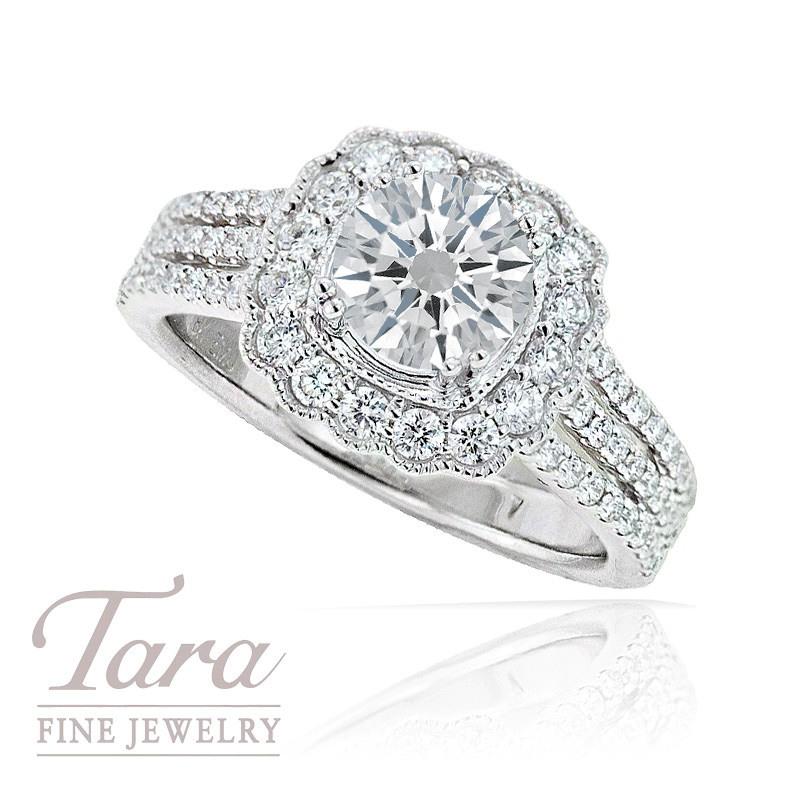 18k White Gold Diamond Engagement Ring, 1.12TDW (Center Stone Sold Separately)