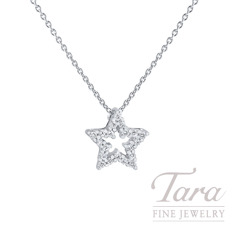 "Roberto Coin 18k White Gold Diamond Star Necklace, 16/18"" Chain, 2.3G, .08TDW"