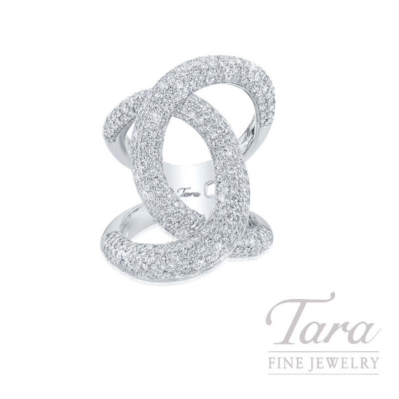 18K White Gold Pave Diamond Swirl Fashion Ring, 15.1G, 3.50TDW