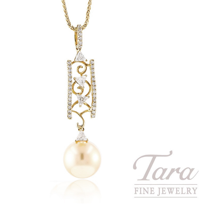 """18k Yellow Gold South Sea Pearl and Diamond Pendant with Chain, 18"""" Chain, 2.2g, .62TDW"""