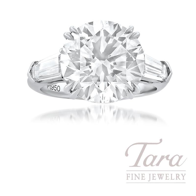 6.51CT Forevermark Exceptional Round Diamond set in a Platinum Diamond Semi Mount, 2 Trapezoid Diamonds 0.97TDW and 12 Round Diamonds 0.10TDW
