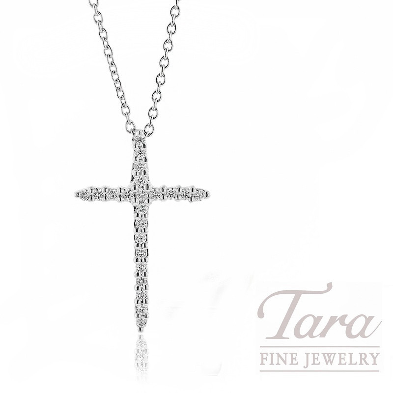 "Roberto Coin 18k White Gold Diamond Cross Pendant, 18"" Chain, 2.5G, .10TDW"