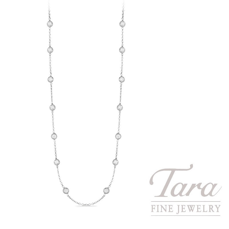 Roberto Coin 18k White Gold Diamonds by the Inch Necklace, 3.04TDW, Diamonds by the Inch Collection