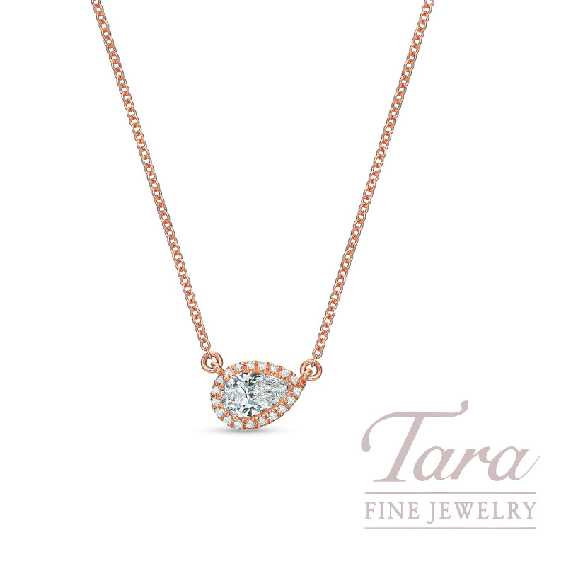 "18K Rose Gold Pear-shape Diamond Halo Necklace, 18"" Chain, 2.0G, .26CT Pear-shape Diamond, .06TDW"
