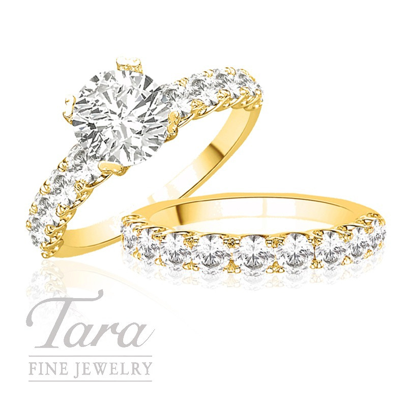 Diamond Engagement Ring in 18K Yellow Gold, .76 TW & Band, .88 TW (Center stone sold separately)