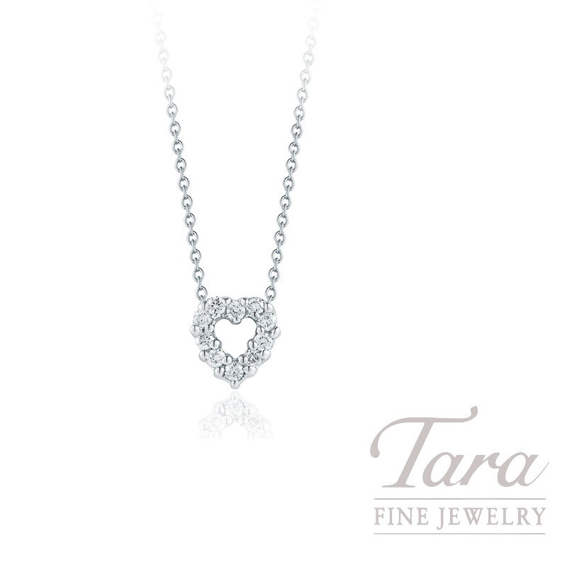 Roberto Coin 18K White Gold Diamond Heart Necklace, .11TDW