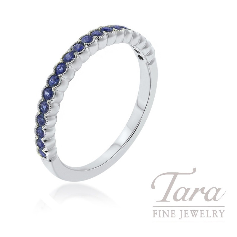 18K White Gold Sapphire Stackable Band, 2.2G, .40TGW