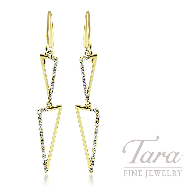 18K Yellow Gold Diamond Triangle Dangle Earrings, 3.2G, .25TDW