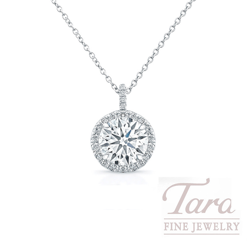 Forevermark 18k White Gold Diamond Halo Pendant, 2.05CT Forevermark Diamond, 1.4G, .16TDW