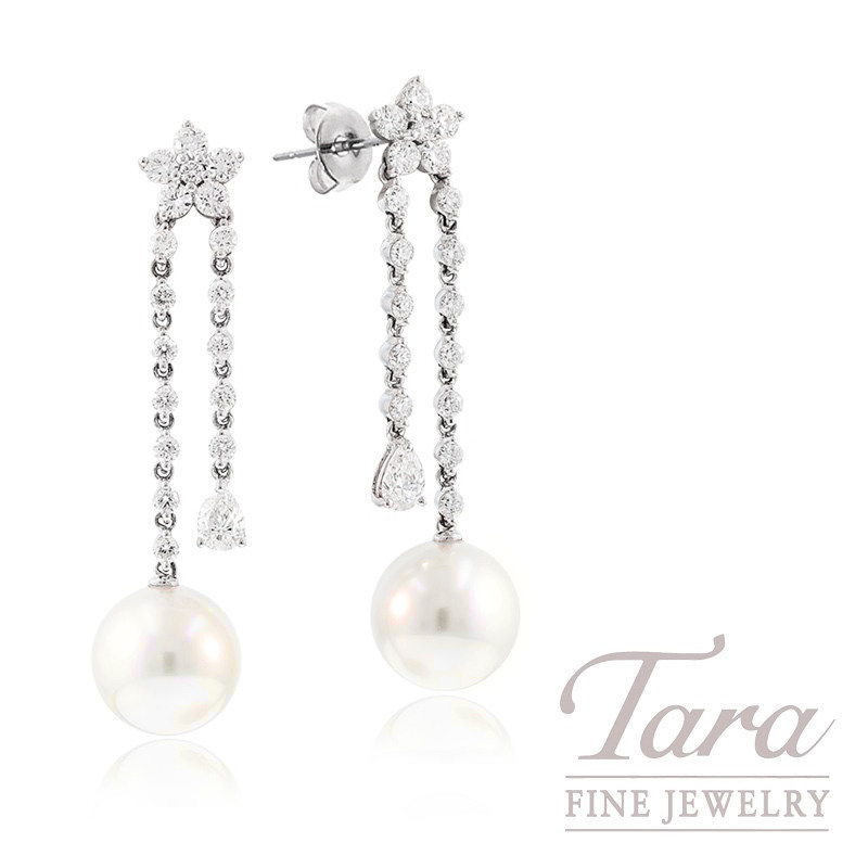 18k White Gold South Sea Pearl and Diamond Floral Earrings, 10.75mm Pearls, 1.69TDW