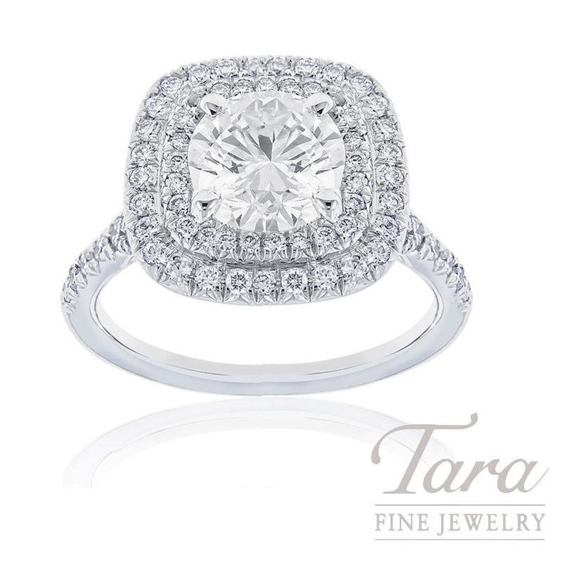 18K White Gold Double Halo Diamond Engagement Ring, 2.02CT Round Brilliant Diamond, 5.3G, .51TDW (Center Stone Sold Separately)