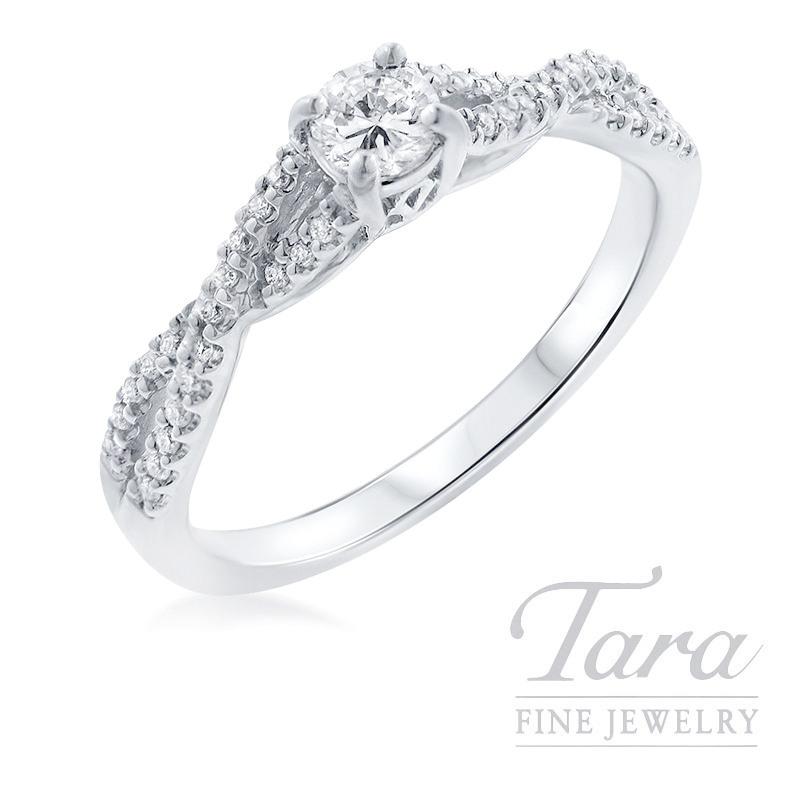 14k White Gold Diamond Engagement Ring, .19CT Center Diamond, .15TDW