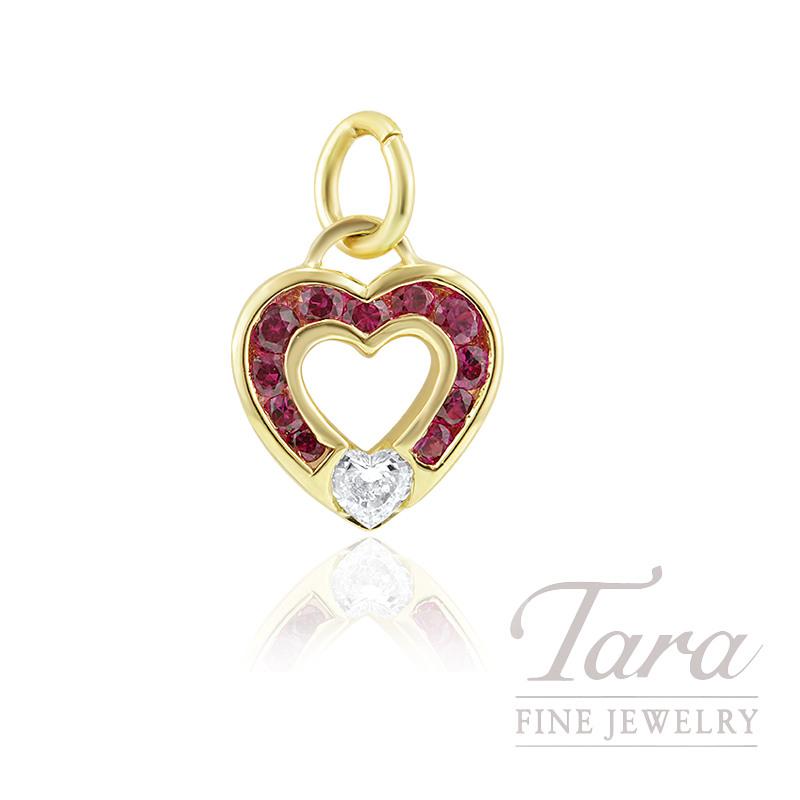 18K Yellow Gold Ruby and Diamond Heart-shape Charm, 2.4G, .21CT Heart-shape Diamond, .47TGW Ruby Gemstones