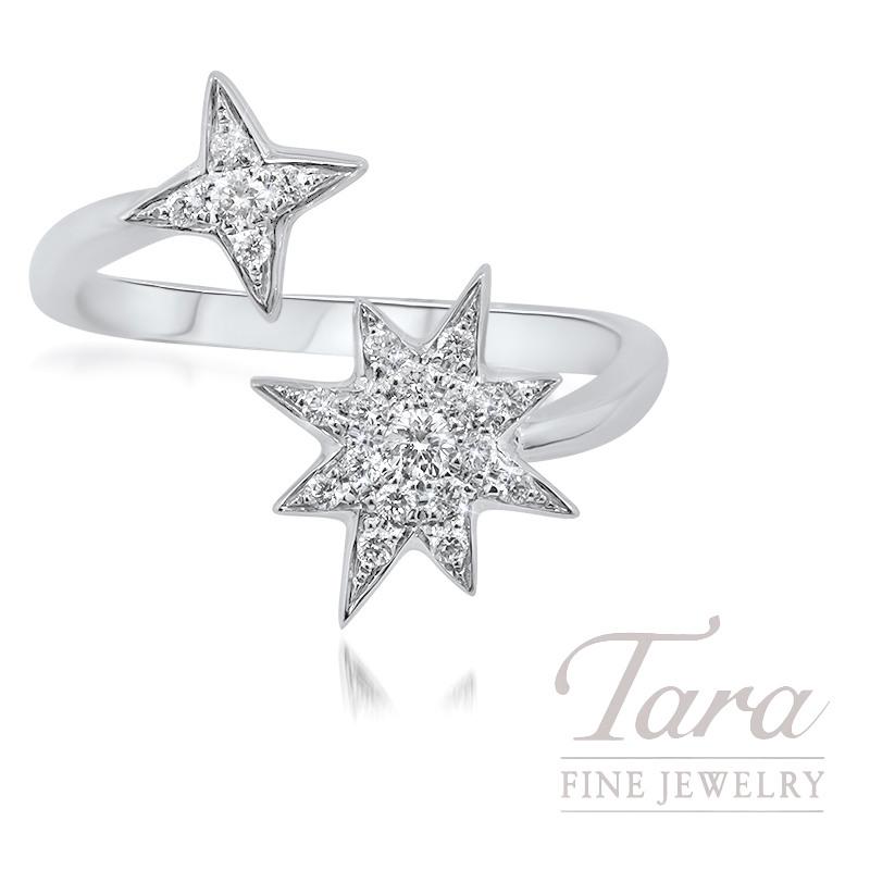18K White Gold Diamond Star Fashion Ring, 3.0G, .20TDW