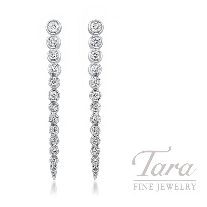 18K White Gold Diamond Bezel Dangle Earrings, 4.8G, .72TDW