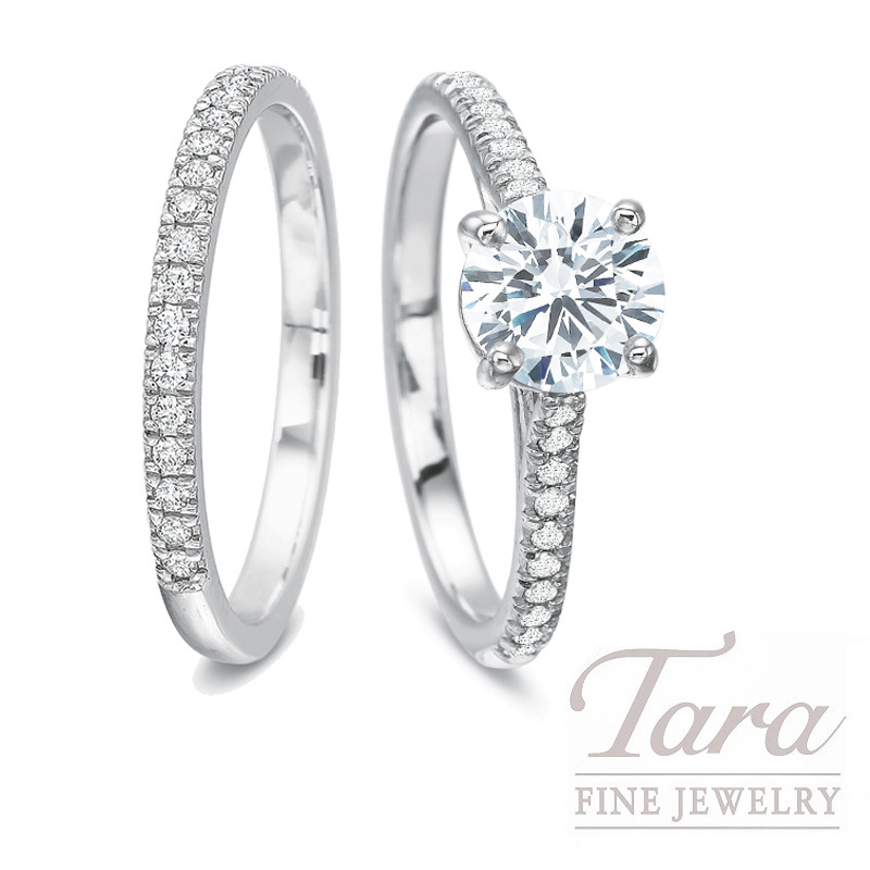 18k White Gold Diamond Wedding Set, 1.01CT Round Diamond, .27TDW (Center Stone Sold Separately)