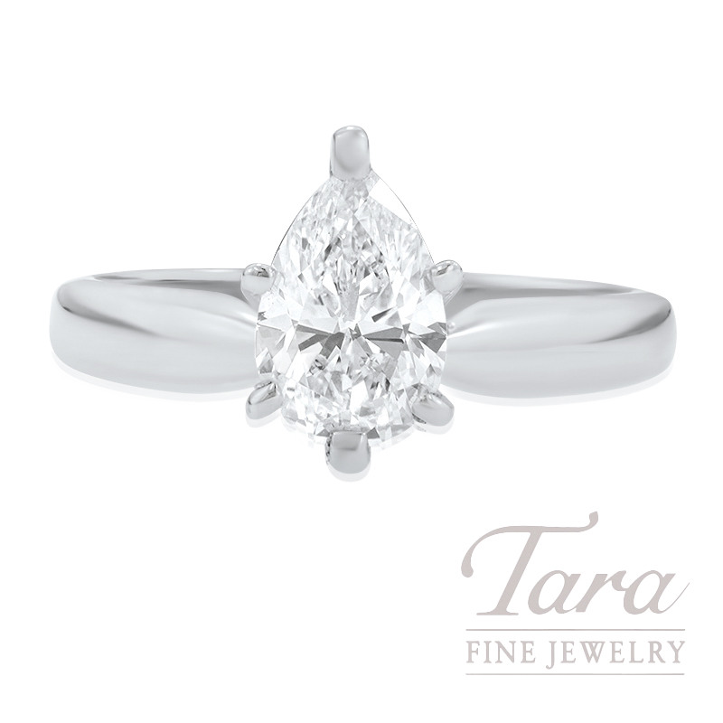 Forevermark 18K White Gold Pear-shape Diamond Solitaire Engagement Ring, 1.09CT Pear-shape Diamond