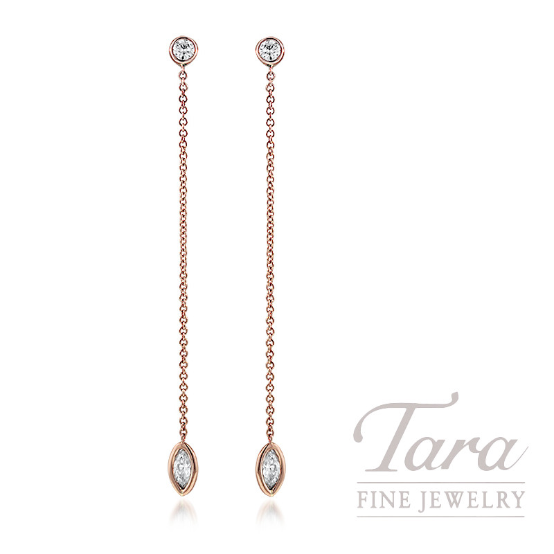 18K Rose Gold Marquise Diamond Earrings, 1.5G, .44TW Marquise Diamonds, .22TDW Round Diamonds