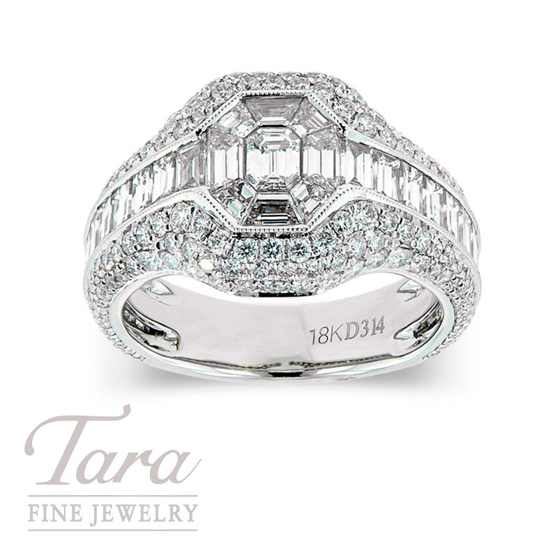 Diamond Wedding Ring in 18k White Gold 1.87 TDW Baguette, 1.10 TDW Round, .17 TDW Emerald Cut