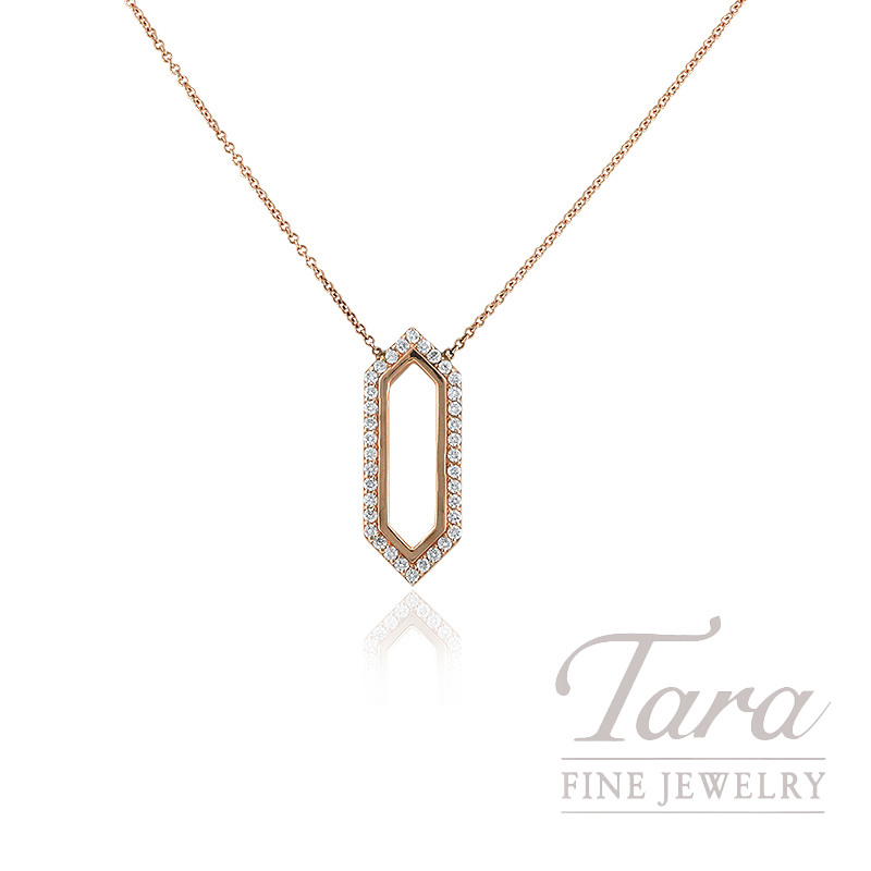 "14K Rose Gold Diamond Necklace, 16"" Chain, 3.9G, .45TDW"