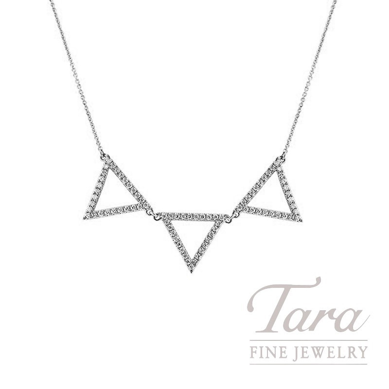 "18K White Gold Diamond Triangle Necklace,16/18"" Chain, 4.7G, .51TDW"