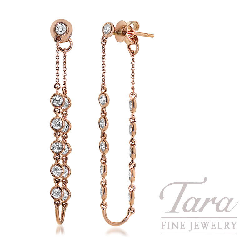 18K Rose Gold Diamond Bezel Earrings, 4.5G, 1.58TDW