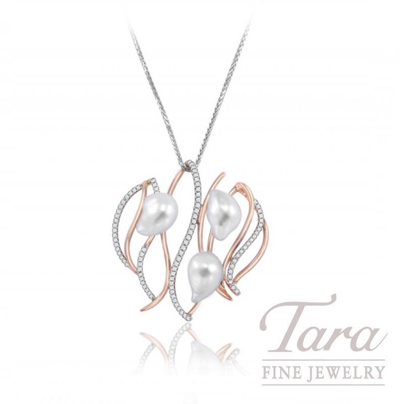 18K Two-Tone Pearl & Diamond Pendant with Chain, .65TDW