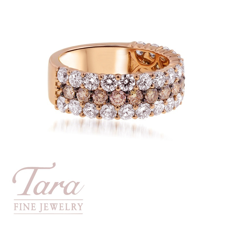 18K Rose Gold Cognac and White Diamond Band 2.15TDW White 1.00TDW Cognac