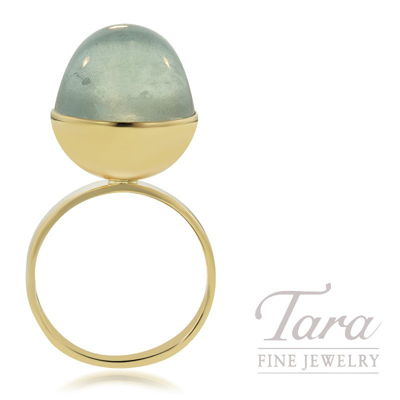 14K Yellow Gold Custom Ring with High Dome  Cabochon Aquamarine 7.9G