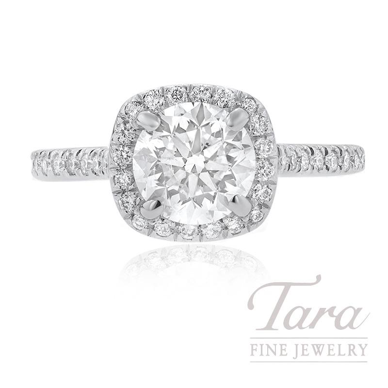 18K White Gold 0.35TDW Semi MT, 42 Round Diamonds, 3.9G, 1.51CT Diamond H-I1 GIA Certified,