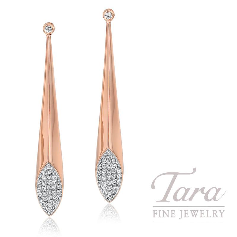 18K Rose Gold Pave Diamond Fashion Earrings, 6.1G, .27TDW