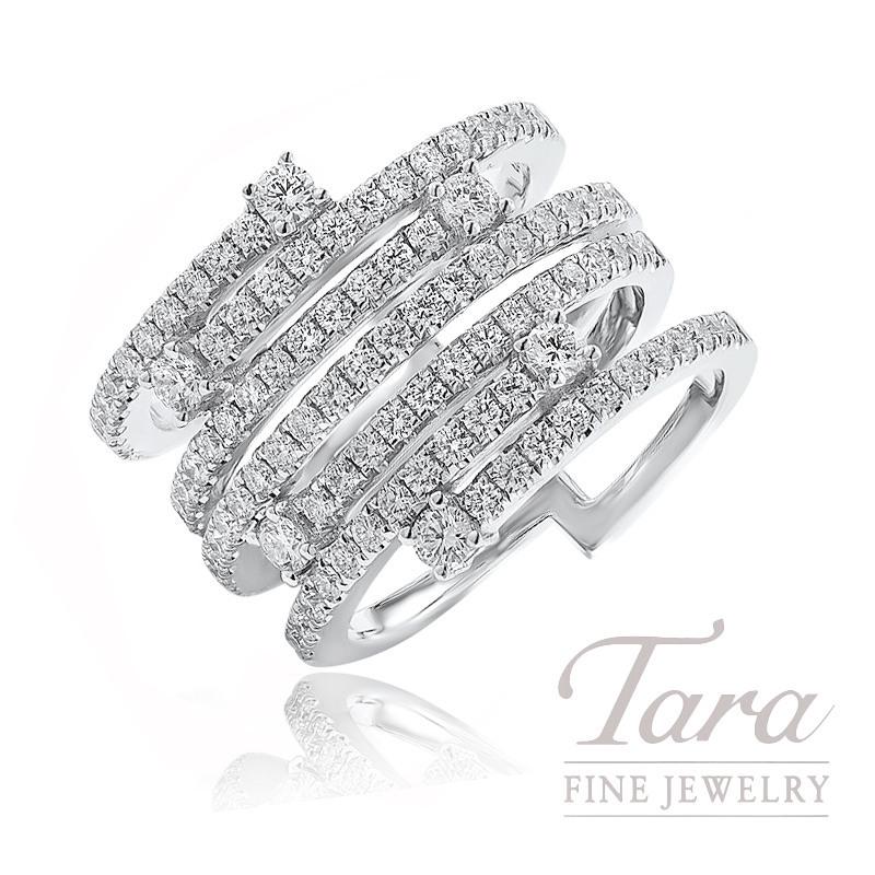 18K White Gold Diamond Fashion Ring, 11.0G, 1.42TDW