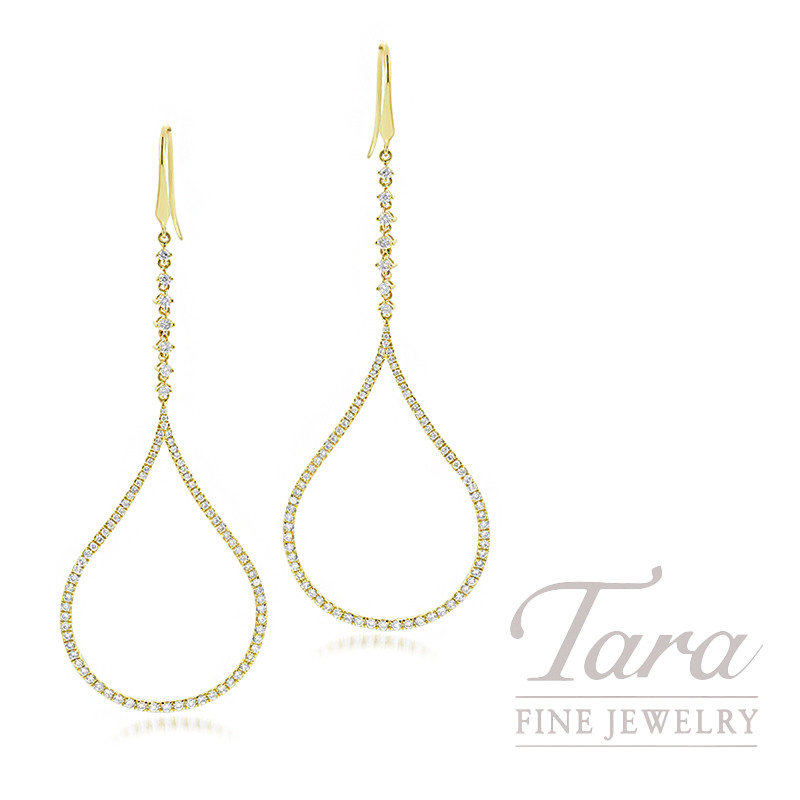 18K Yellow Gold Diamond Drop Dangle Earrings, 7.0G, 1.88TDW