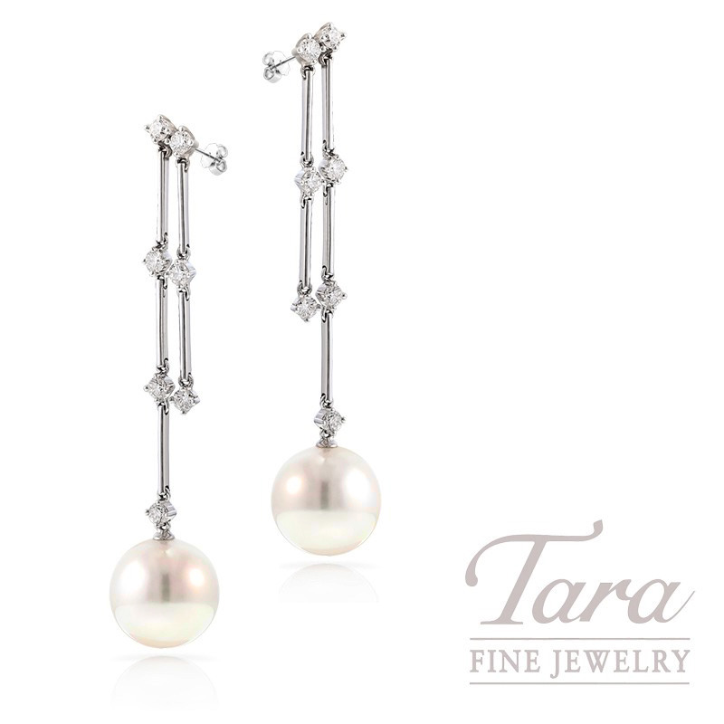 18k White Gold South Sea Pearl and Diamond Earrings, 10.75mm Pearls, .55 TDW