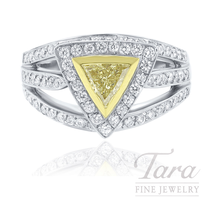 22K Yellow Gold & 18K White Gold Fancy Yellow Trillion Diamond Halo Ring, .62CT Fancy Yellow Trillion, .72TDW