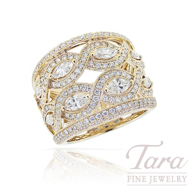 18K Yellow Gold Marquise Diamond Band, .88TDW Marquise Diamonds, 1.28TDW Round Diamonds