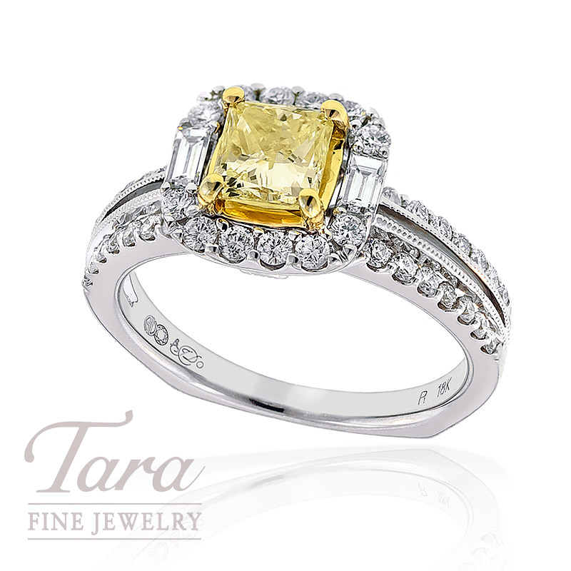 Diamond Engagement Ring in 18k Two Tone Gold, .60tdw (Center stone sold separately)
