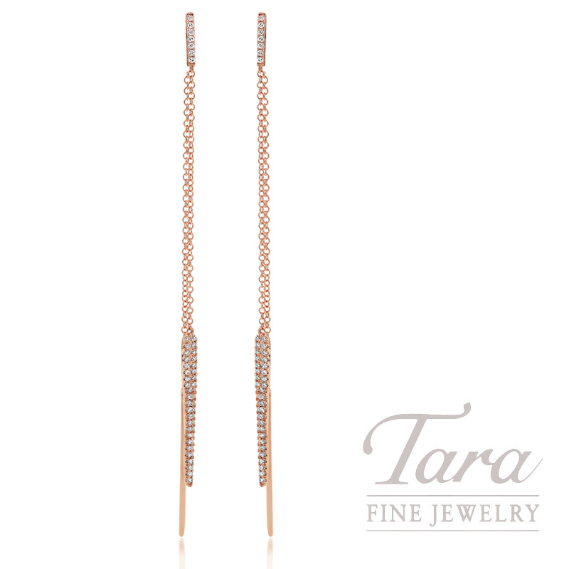 18K Rose Gold Pointed Pave Diamond Earrings, 4.0G, .24TDW