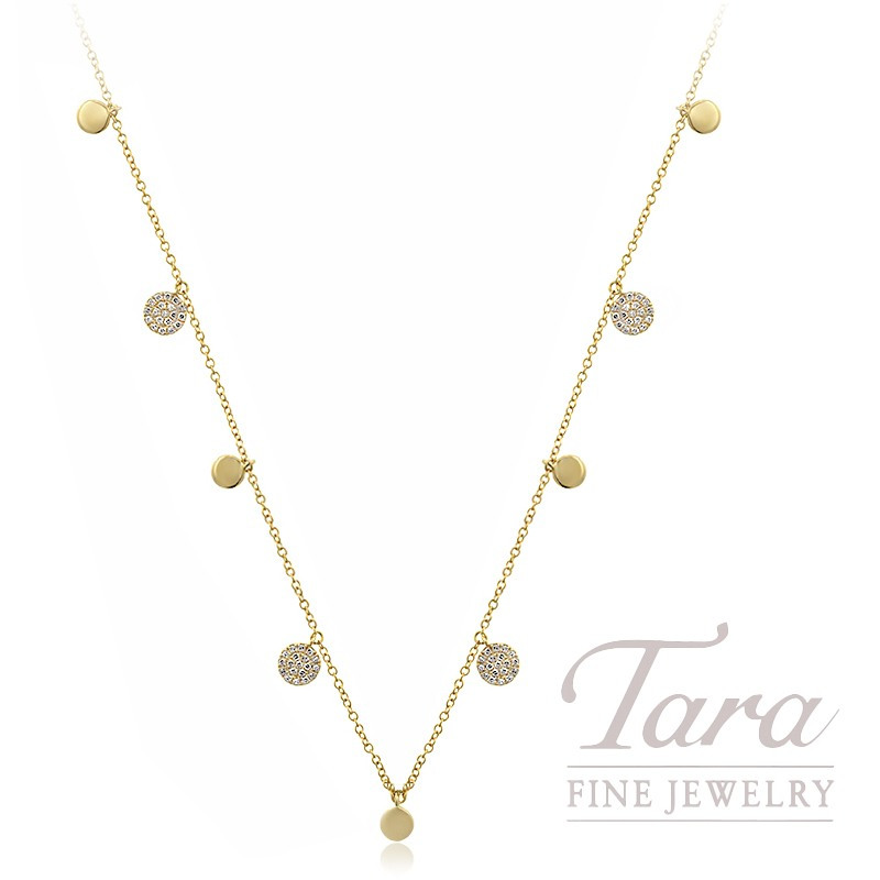 "18K Yellow Gold Pave Diamond Stationary Necklace, 16/18"" Chain, 4.5G, .26TDW"