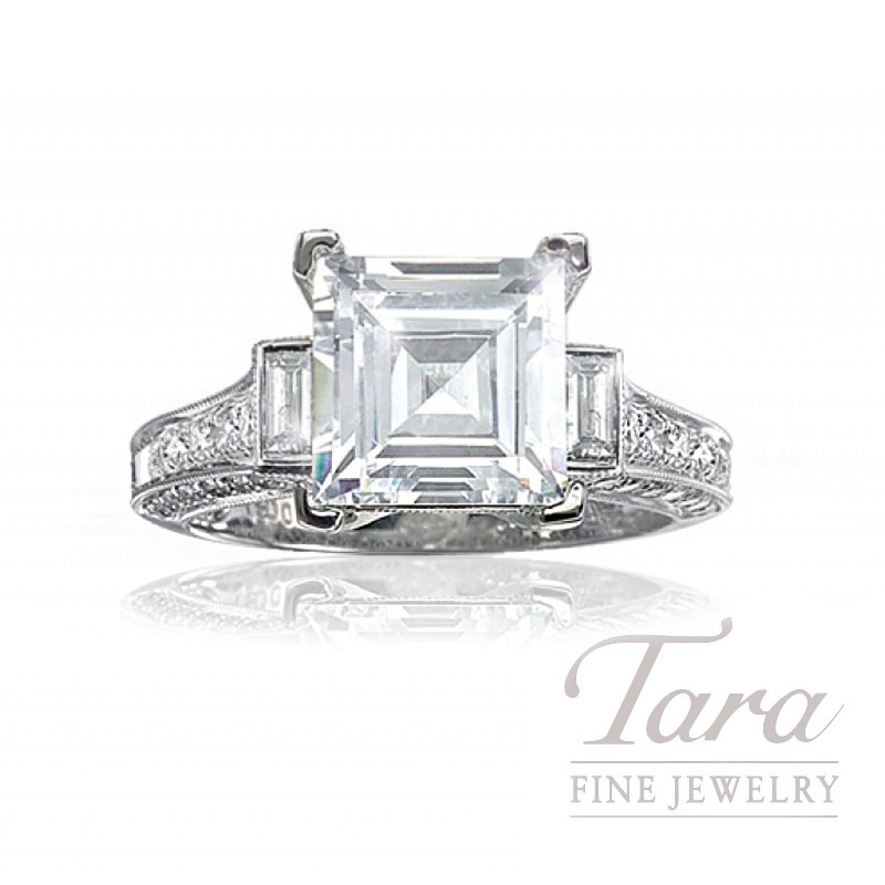 Diamond Engagement Ring in 18K White Gold, .97 CT TDW. (Center stone sold separately)