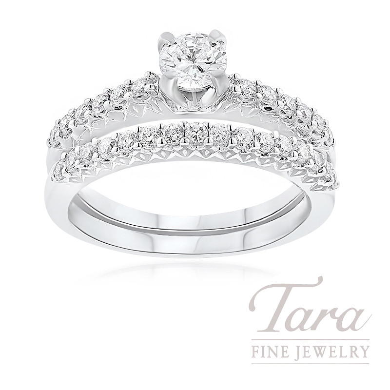 18K White Gold Diamond Wedding Set, .38CT Round Brilliant Diamond, .60TDW