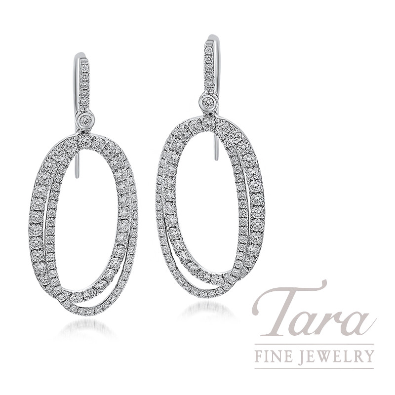 18K White Gold Interlocking Oval Diamond Dangle Earrings, 11.0G, 3.15TDW