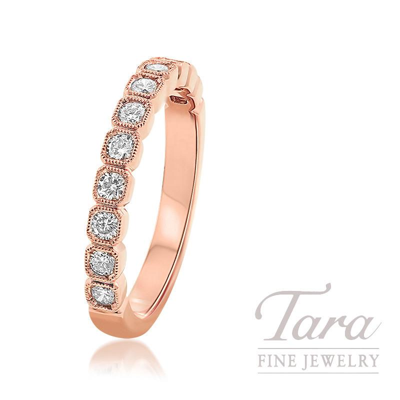 18K Rose Gold Bezel Diamond Ring, 3.0G, .40TDW